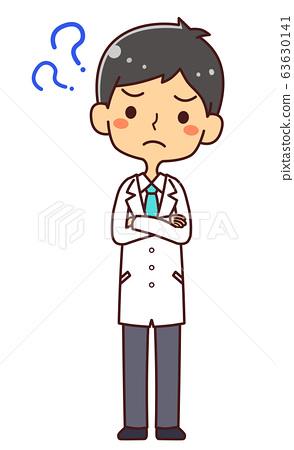 의사 닥터 젊은 남성 전신 의문? 63630141