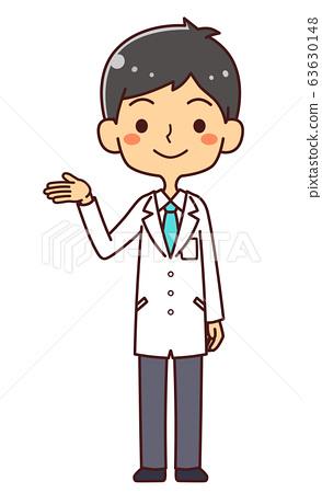 의사 닥터 젊은 남성 전신 안내 제안 63630148