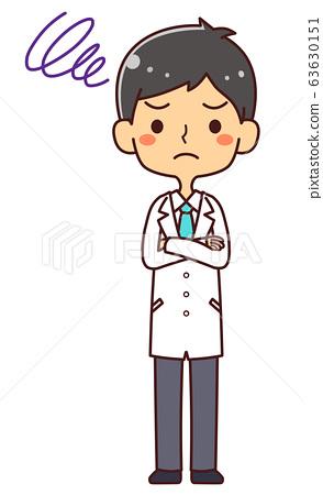 의사 닥터 젊은 남성 전신 고민 생각 63630151