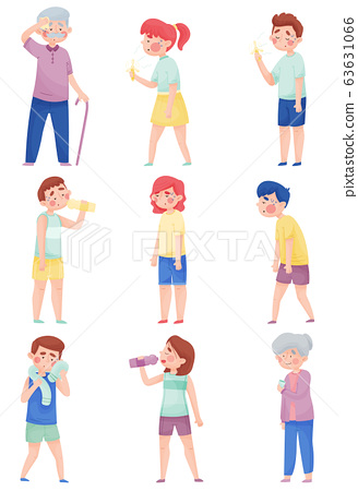 People Characters Suffering From Hot Weather Vector Illustrations Set 63631066