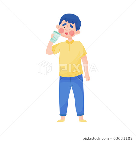 Young Boy Holding Glass of Cool Water and Drinking Vector Illustration 63631105