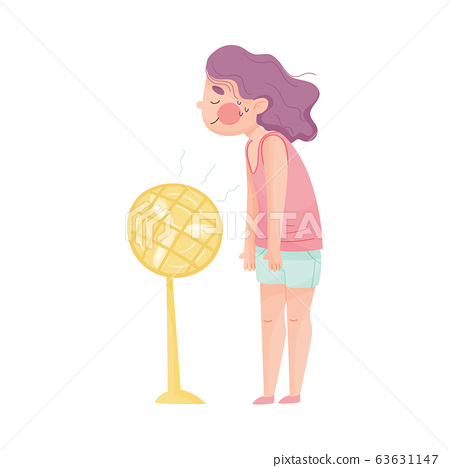 Young Girl Standing in Front of Fan and Enjoying Because of Hot Weather Vector Illustration 63631147
