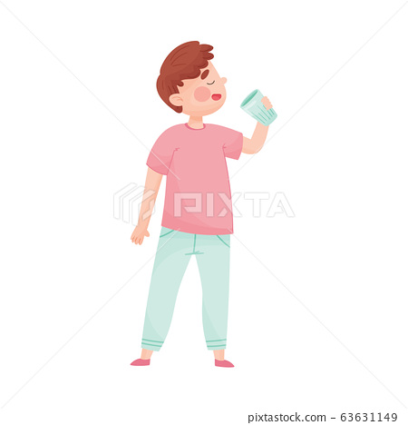 Young Boy Holding Glass of Cool Water and Drinking Vector Illustration 63631149