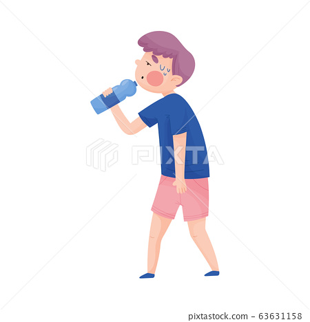 Boy in T-shirt Drinking Cool Water from Bottle Because of Hot Weather Vector Illustration 63631158