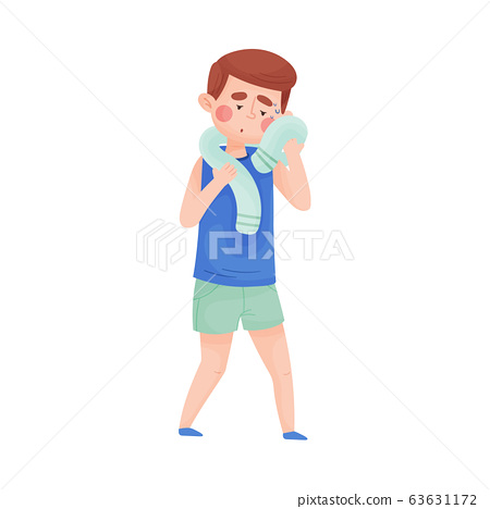 Boy Mopping His Forehead with Towel From Sweat Because of Hot Weather Vector Illustration 63631172