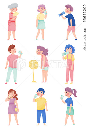 People Characters Suffering From Hot Weather Vector Illustrations Set 63631200