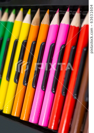Set of bright wooden colored pencils 63631604