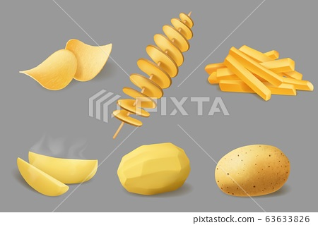 Potato chips, fries and tornado, realistic food 63633826