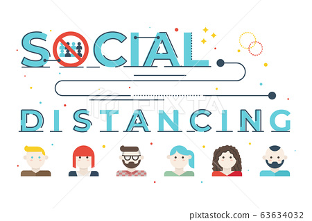 Social distancing word lettering illustration 63634032
