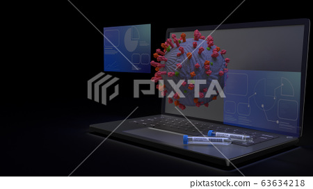 The corona virus and  science tube on notebook 3d rendering for medical content. 63634218