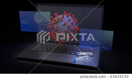 The corona virus and  science tube on notebook 3d rendering for medical content. 63634230
