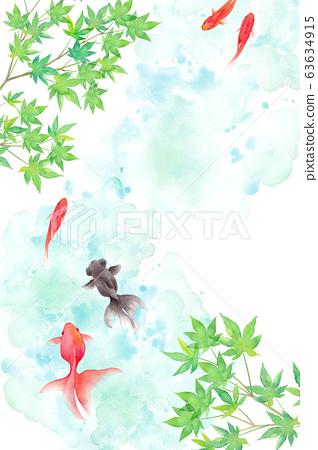 夏季圖像背景組成的金魚和新鮮的綠色楓葉,水彩插圖 63634915