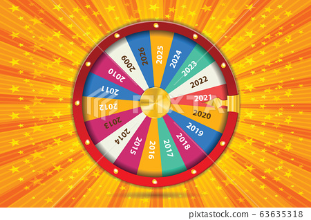 Realistic 3d spinning fortune wheel, lucky roulette Happy new year 2021 vector illustration. Abstract concept graphic gambling element 63635318