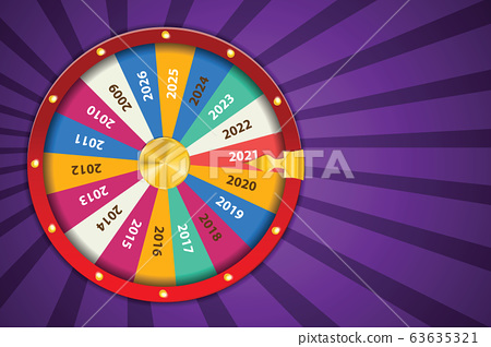 Realistic 3d spinning fortune wheel, lucky roulette Happy new year 2021 vector illustration. Abstract concept graphic gambling element 63635321