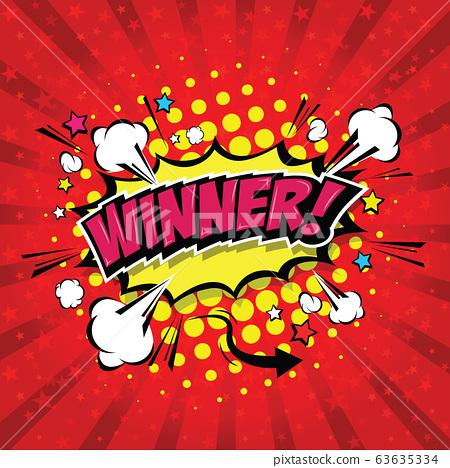 Winner! Comic Speech Bubble, Cartoon. art and illustration vector file. 63635334