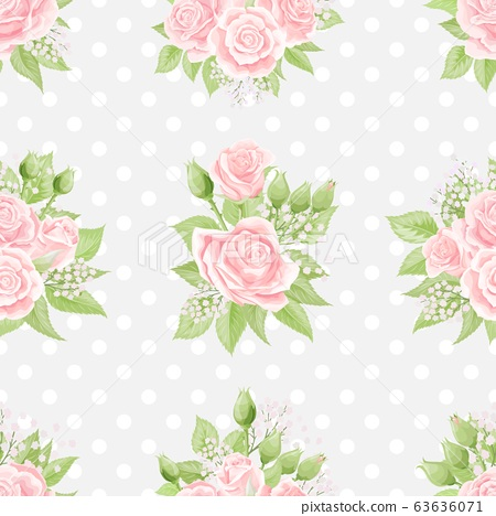 Seamless pattern with pink roses and floral branches on polka dot background 63636071