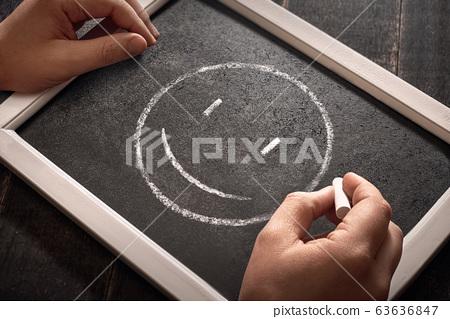 Modern smile icon black background, chalk board. 63636847