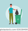 Waste handling. Illustration with man tossing his garbage into trashcan with recycling symbol on blue background 63638490