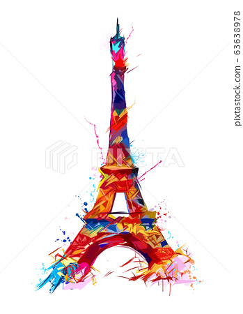 Colorful representation of eiffel tower in Paris 63638978