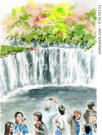 Tourist with shiraito of waterfall painted by watercolor 63639132