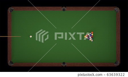 3d render Starting shot of a billiard game top views 63639322