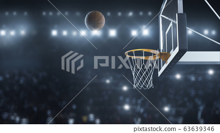 3d render Basketball hit the basket in slow motion on the background of flashes of cameras 63639346