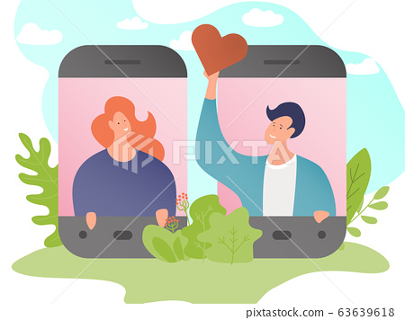 Online dating, social networks for communication and online finding love. Banner with character of man, woman. 63639618