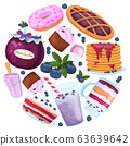 Set of sweet blueberry dessert icon on white backgound. Round banner concept berry dessert. 63639642