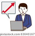 Stock Price Sales Up Men Simple Illustration 63640167