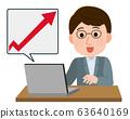 Stock Price Sales Up Men Illustration 63640169