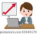 Stock price Sales Up Female Illustration 63640170