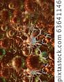 Virus or coronavirus bacteria cell in close up 63641146