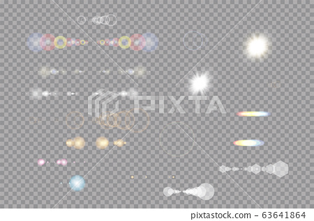 Glow isolated white transparent light effect set, lens flare, explosion, glitter, line, sun flash, spark and stars. Abstract special effect element design. Shine ray with lightning, sparkling round 63641864