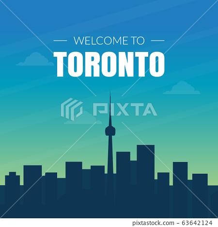 Modern Toronto Canada City Skyline, Banner, Placard or Web Page Vector Illustration 63642124