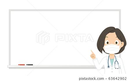 Doctor, mask, woman, female doctor, explanation, whiteboard, illustration 63642902