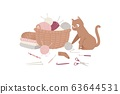 Knitting and kitten with threads, knitted scarf, cap, sweater, yarn balls and basket of wool cartoon vector illustration. 63644531