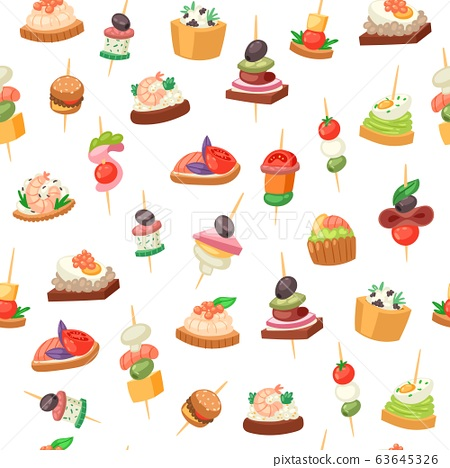 Canapes, tapas on piece of bread, appetizer dish with caviar, olives and green vegetables seamless pattern vector illustration. 63645326