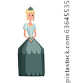 Isolated medieval princess character with royal clothes on white background. Fairy tale. Fantastic kingdom character. Monarch vector cute clip art 63645535