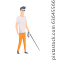 Young blind guy with stick. Young handicapped person. Vector illustration of a flat design 63645566