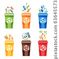Garbage collection recycling. Plastic containers for garbage of different types. Rubbish container concept logo. Vector illustrations in cartoon style 63645573