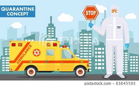 Quarantine and medical concept. Detailed illustration of jewish doctor in protective suit and mask on background with emergency ambulance car and cityscape. Virus, infection, epidemic. Vector 63645593