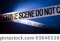 Tape encloses crime scene, refreshed by spotlight 63646339