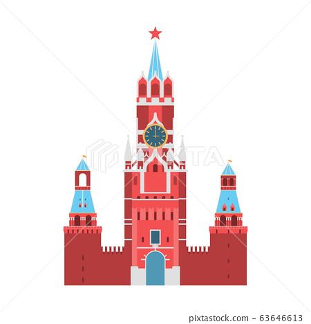 Cartoon Kremlin Palace Russia Travel and Tourism Concept. Vector 63646613