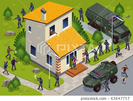 Anti Terror Operation of Special Police Forces with Armor Vehicles and Hostage Release Illustration isometric icons on isolated background 63647757