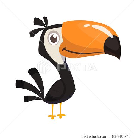 Toucan cartoon. Vector icon of toucan bird. Exotic colorful bird illustration 63649973