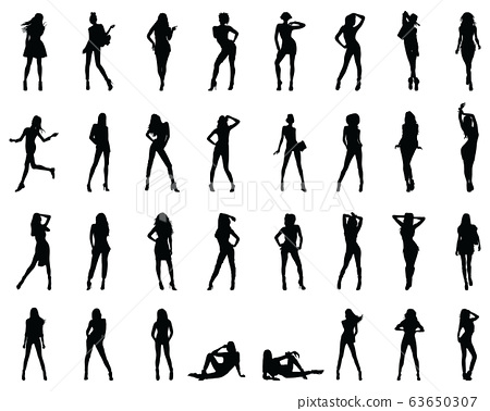 Black silhouettes of beautiful girls in various poses on a white background 63650307