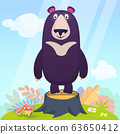 Cartoon happy bear on a tree stump. Vector illustration isolated 63650412