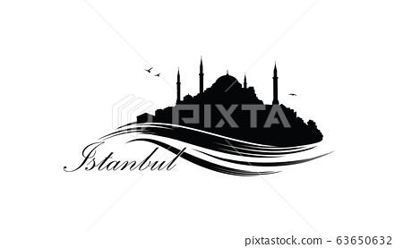 Istanbul city skyline with famous turkish travel landmark.  63650632