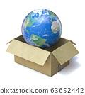 Earth globe in cardboard box 3D 63652442