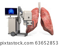 X-ray machine with human lungs, 3D rendering 63652853